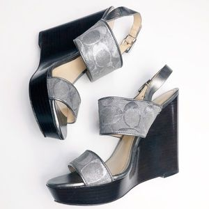 Silver and Brown Coach Wedges